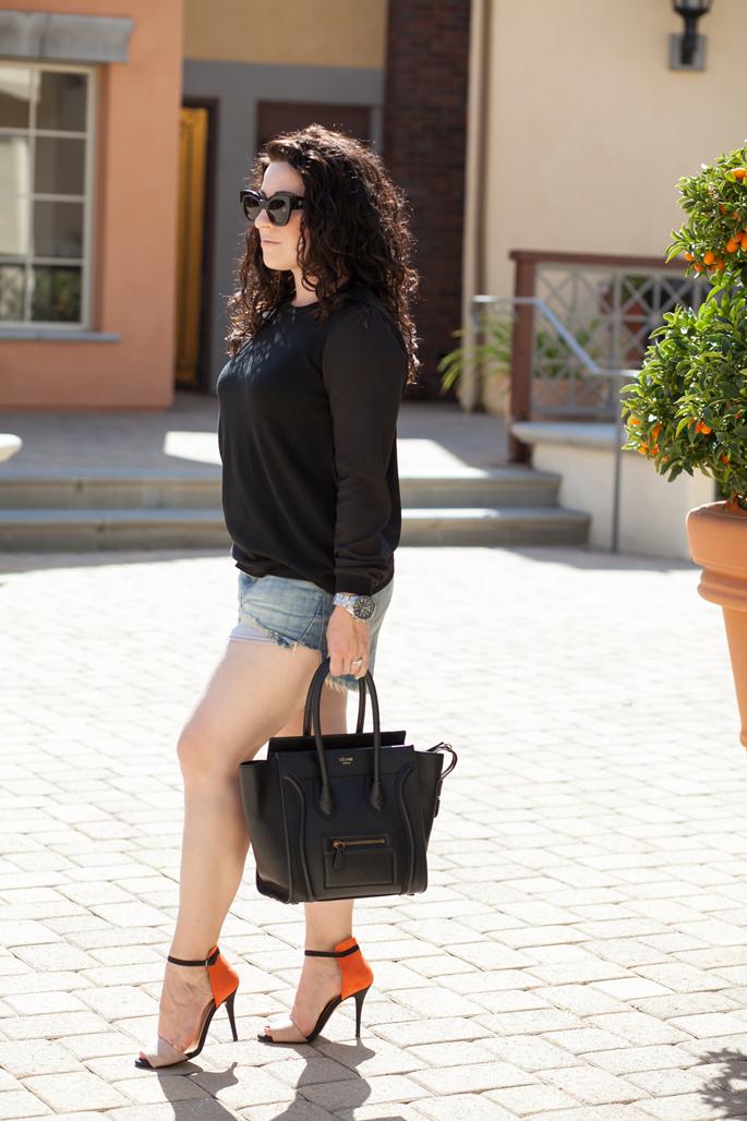 karen walker sunglasses, celine bag, curly hair, colorblock sandals, timex watch