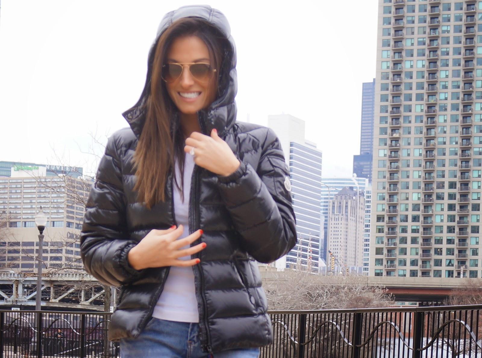 travel style- monclear coat, converse shoes, blank jeans, splendid long sleeve, ray ban sunglasses