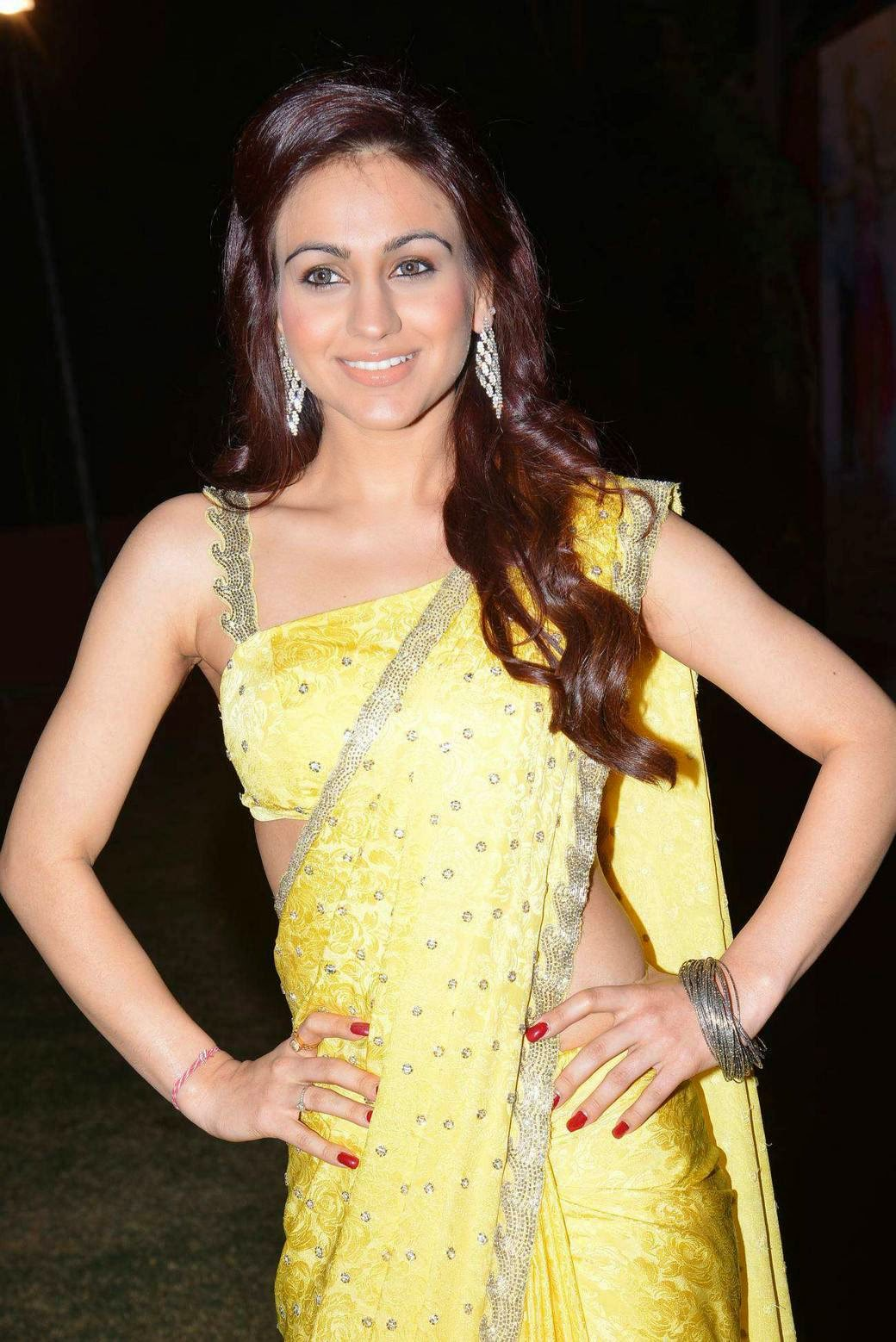 Actress Aksha Pardasany Latest Cute Hot Yellow Saree Navel Show Spicy Photos Gallery At Dr.Salim Movie Audio Launch