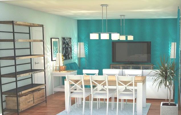 Arantxa amor decoraci n un peque o sal n comedor para - Pintar un salon en dos colores ...