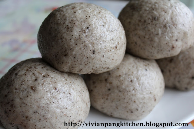 vivian pang kitchen black sesame steamed buns with red