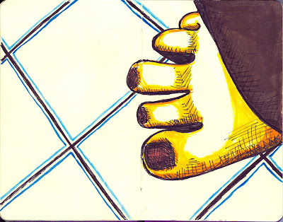 Toes on Tile - Ink with Watercolour - Rendered by Ana Tirolese ©2012