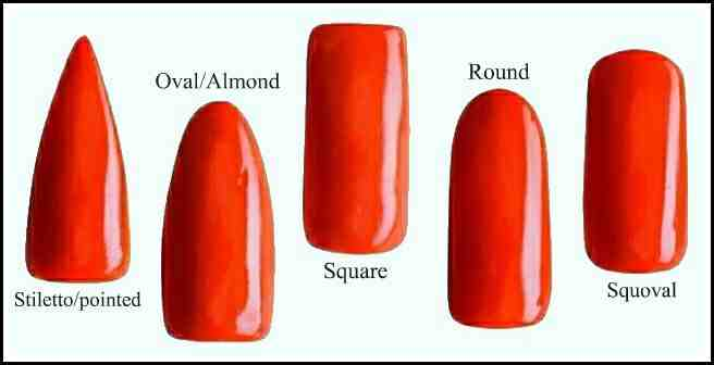 ... most popular nail shapes with the two on the left being the shapes of