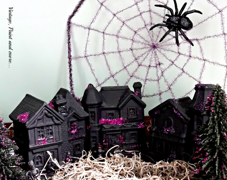 Vintage, Paint and more... a Dollar Tree Christmas village pieces painted with black chalkboard paint and glitter to make a Halloween village