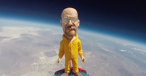 universe cam gopro youtube video of walter white heisemberg toy in space