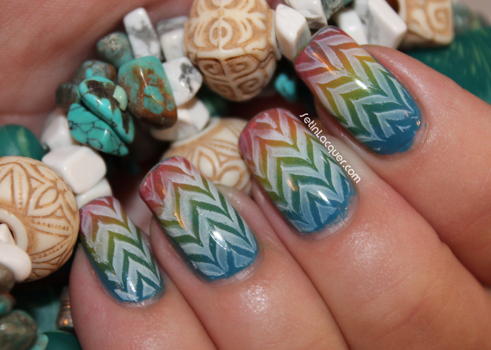 Nail art - a gradient using Zoya polishes and a Fab Ur Nails stamping image