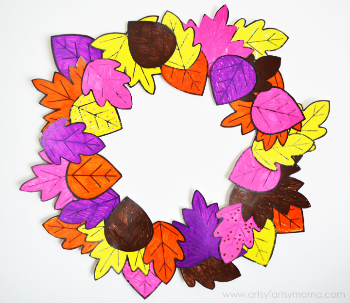 Kids DIY Autumn Leaf Wreath with Free Leaf Printable at artsyfartsymama.com #fall #kidscraft #Elmers