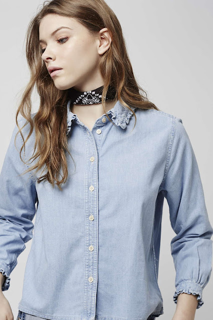 denim shirt frilly collar, frilly collar denim shirt,