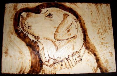 cão labrador - pirogravura