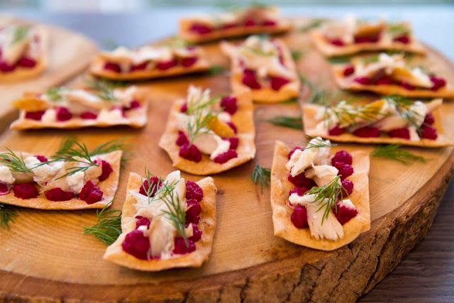 AMUSE BOUCHE Flatbreads with beetroot, smoked mackerel and dill