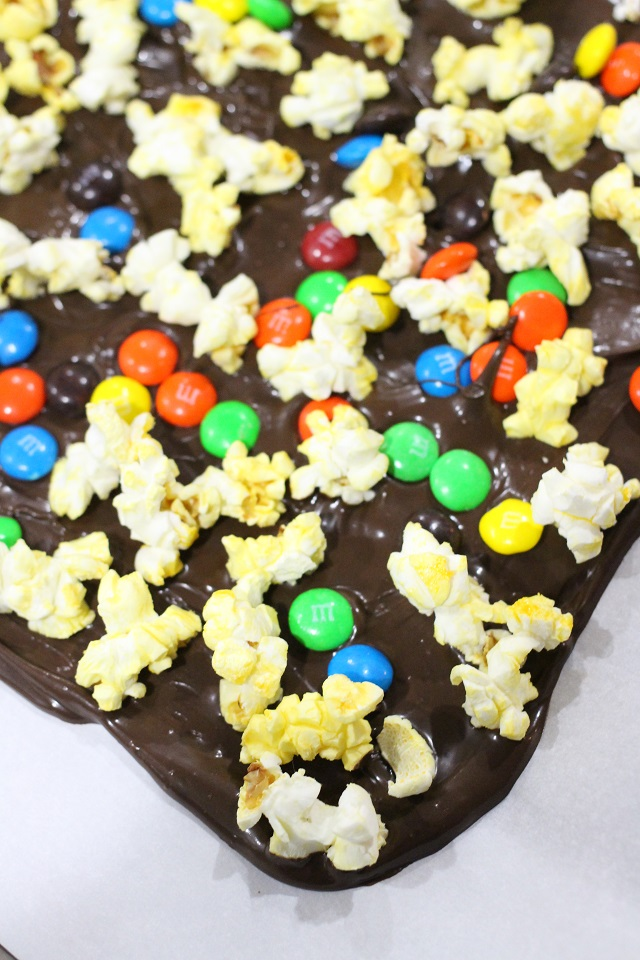 Sweet and Salty Movie Popcorn Chocolate Bark