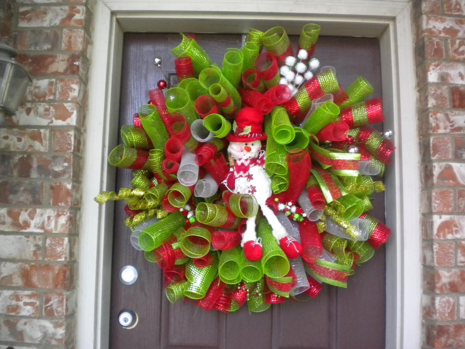 Diy christmas deco mesh curly snowman wreath 2013 baditri Images