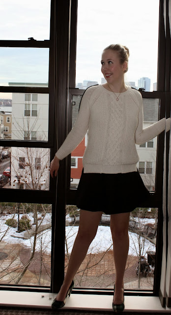 Boston Winter Outfits White CableKnit Zara J Crew Fluted Skirt School Girl Look