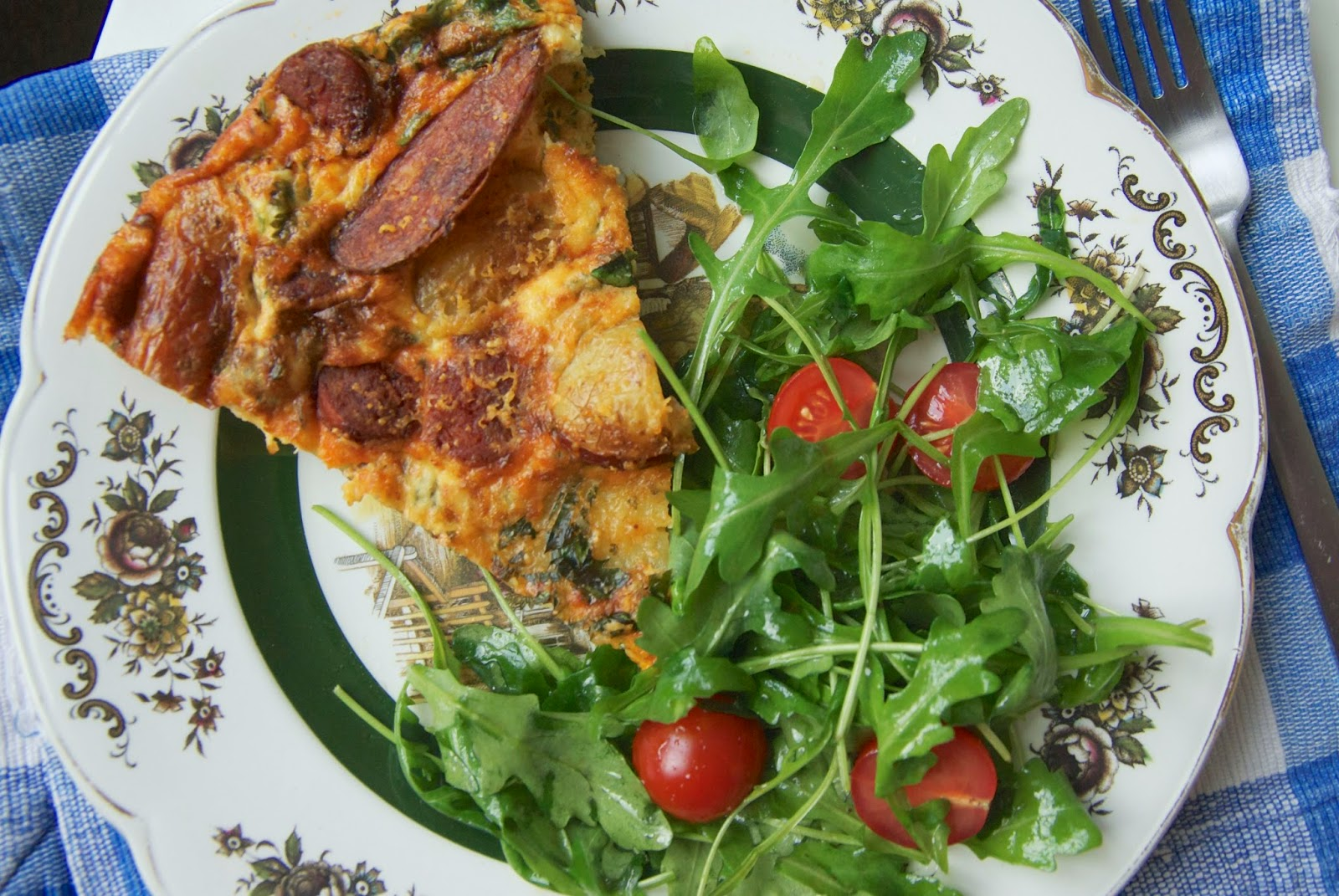 Chorizo and new potato herby frittata