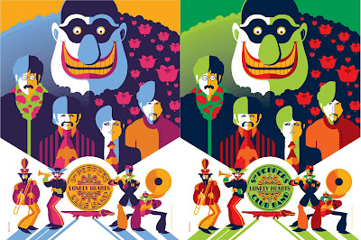 The Beatles Yellow Submarine Print Set by Tom Whalen - Print 5 Standard and Pink Variant Editions
