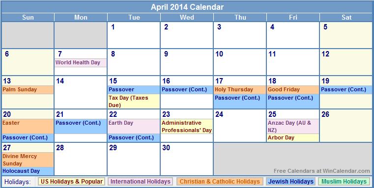 Calendar April 2014 : Printable april calendar with holidays
