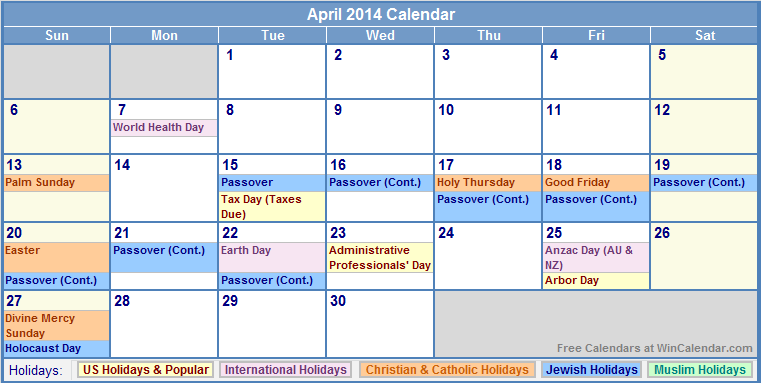2014 Calendar With Holidays 761 x 466 29 kb png, printable april 2014 ...
