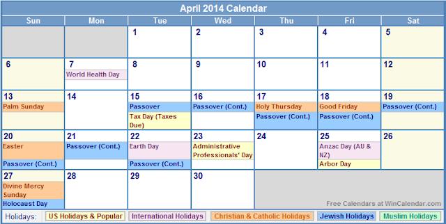 Printable April 2014 Calendar With Holidays Printable Calendar