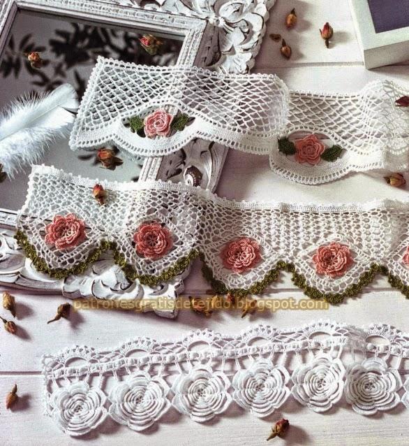 Puntillas con diseños de rosas al crochet