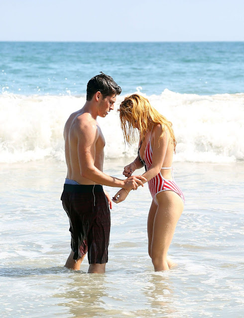 Bella Throne in Sexy One Piece american flag print Bikini with open front with her boyfriend having sex Sexy Cleavages hot boobs of Bella Throne visible
