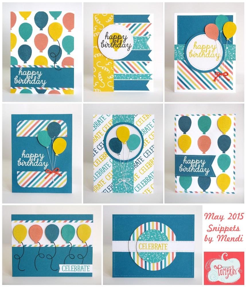 Birthday Cards Using Stampin Up Paper Pumpkin May 2015 Kit By Mendi Yoshikawa