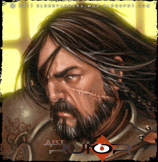 Un detalle del rostro de ilustración hecha por ªRU-MOR de personaje Oda para ÉPICA: Edades Oscuras, juego de cartas de fantasía medieval y rol. Acrílicos