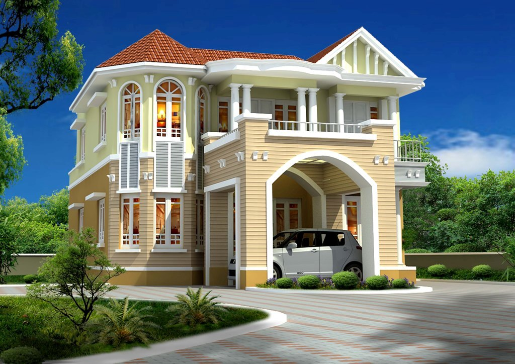 Realestate green designs house designs gallery modern Indian house front design photo