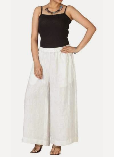 White Linen Palazzo Pants | Indian Designers | Indian Designer pants