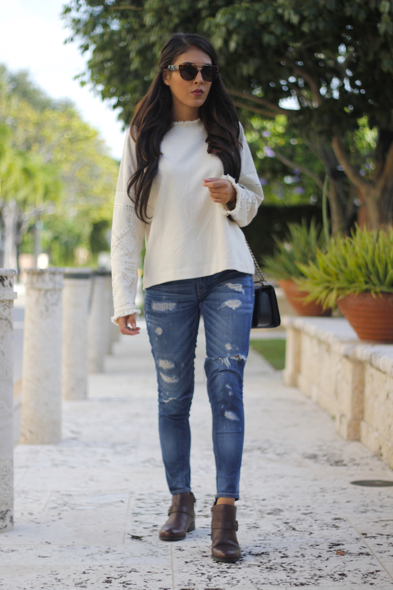 ripped jeans, booties, fall sweater