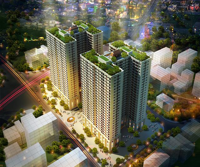 Phối cảnh chung cư Hòa Bình Green City