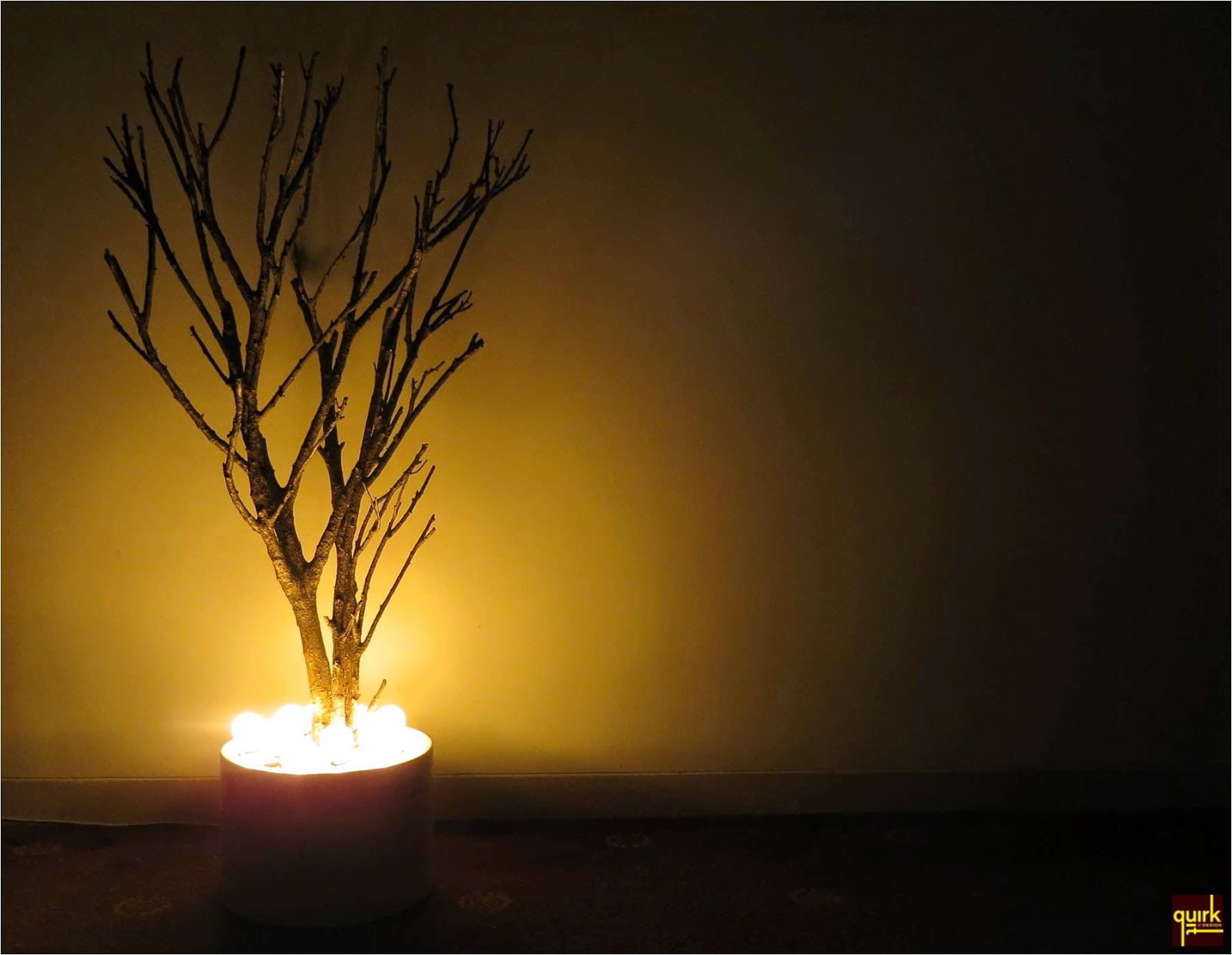 Quirk It Design_Glow Willow from Below__naked branching tree with bulb light glowing below_DIY_Quirky_Home_Decor
