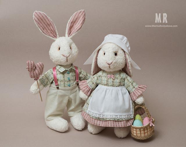 Текстильная игрушка Пасхальные кролики. Игрушки ручной работы от Марины Росляковой, hand made Marina Rjslyakova, Easter bunny