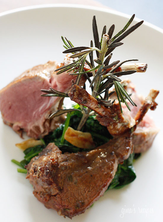 Rack of Lamb with Dijon Glaze over Wilted Baby Spinach | Skinnytaste