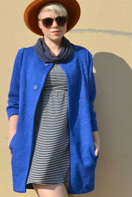 choies, blue, coat, vintage hat, street style