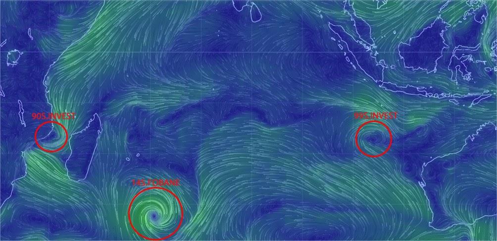 Carte de suivie des cyclone en cours à la Réunion et dans l'océan Indien