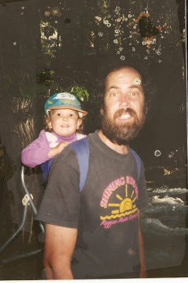 dad hiking with toddler