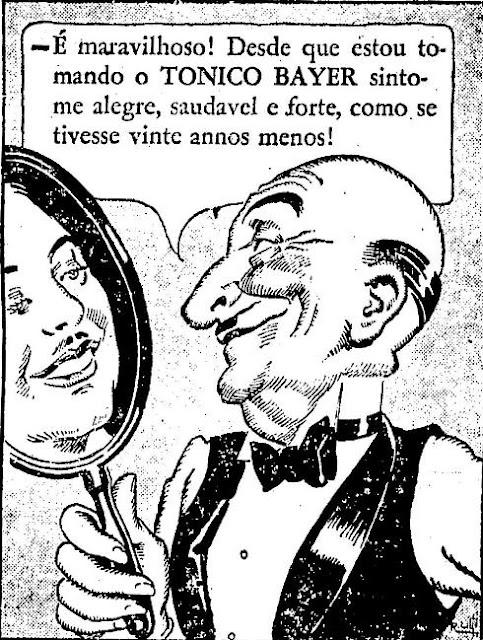 Propaganda do ano de 1936 de um famoso tônico que prometia longa vida aos seus consumidores.