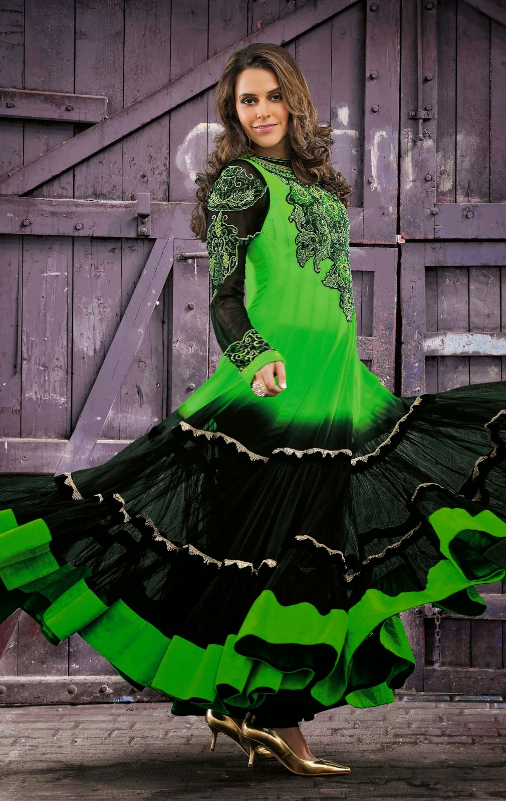 Faux Georgette Green Designer Embroidery Anarkali Suit with Dupatta