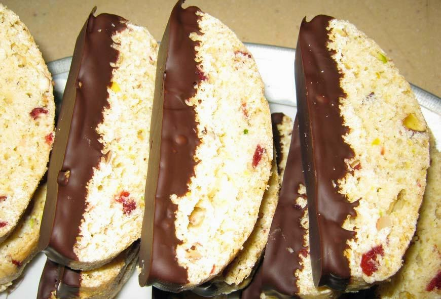 Biscotti's with Pistachio, Almonds and Cranberries