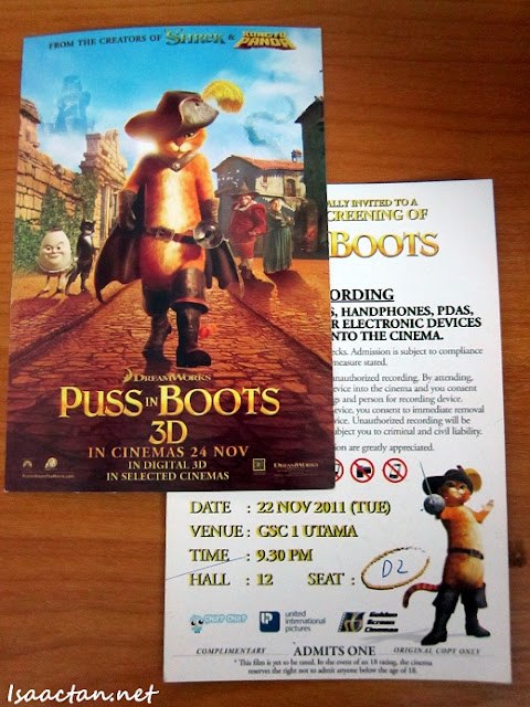 Puss In Boots Free Tickets