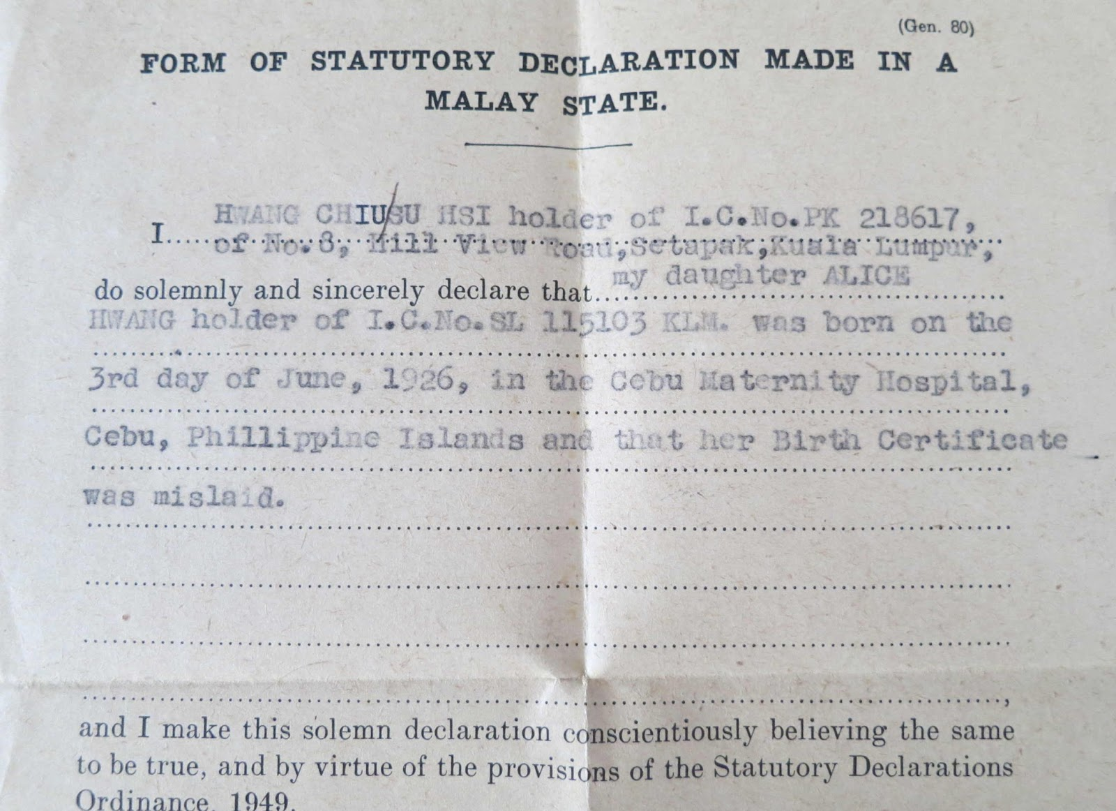 Peggy loh my johor stories january 2013 a section of the statutory declaration that her mother made concerning the loss of her birth certificate aiddatafo Gallery