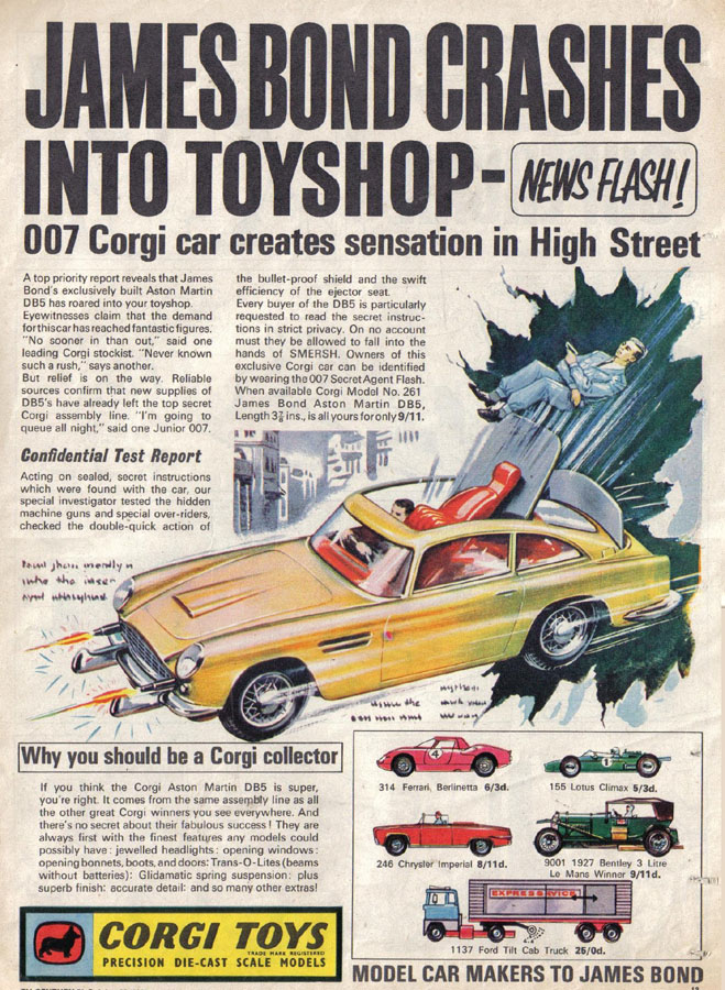 Later On In The New Year My Brother And I Both Each Received The Smash Hit  Toy Of 1966  The Corgi James Bond Aston Martin DB5. A Smashing Die Cast  Complete ...