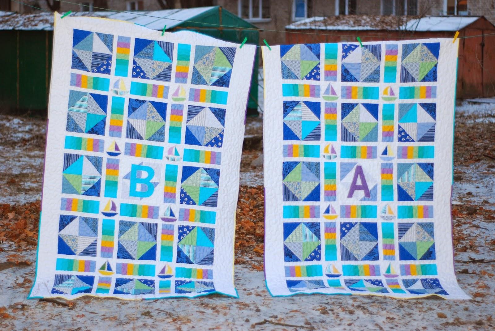 Одеяло в морском стиле пэчворк