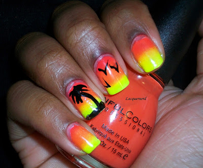 Sunset Palm Tree Nails