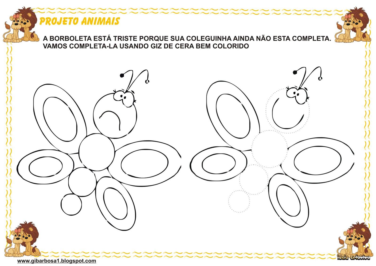 Atividade Maternal Projeto Animais Versos A borboleta