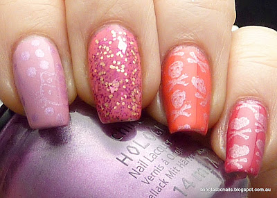 China Glaze Pink Ombre Manicure with Sinful Colors Scene Stealer accent nail