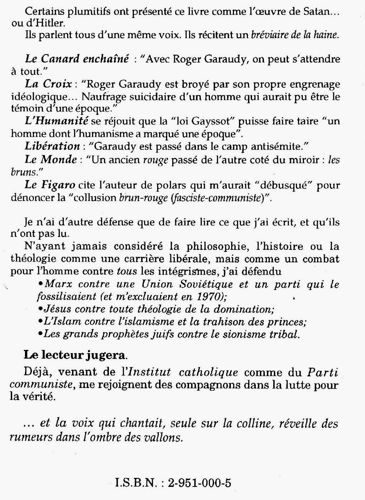 """Le livre condamné-1996. Dos de la couverture des """"Mythes fondateurs de la politique israélienne"""""""