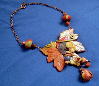 Copper, Blue and Jade Green Leaf Necklace