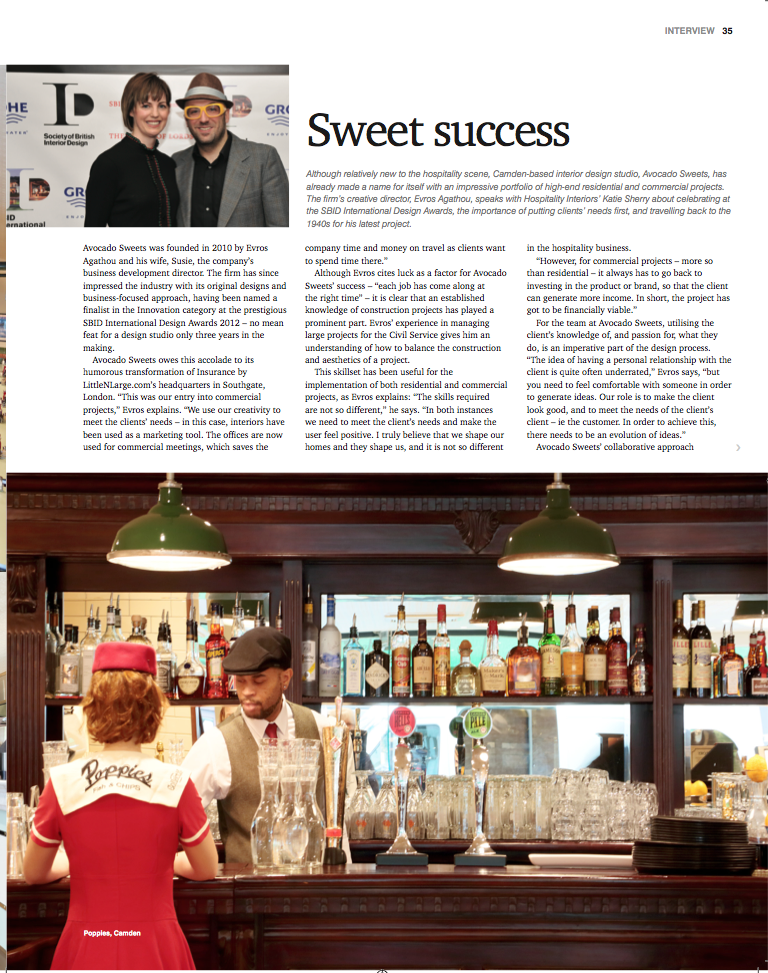 Leading industry magazine, Hospitality Interiors, has a great three-page  interview with Avocado Sweets Creative Director, Evros Agathou.