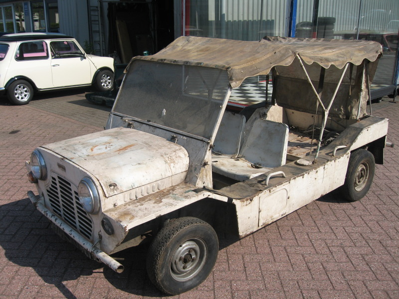 The Mini Moke which is almost complete despite the lack of the two rear seats spare tyre and candy striped wheel cover front seat covers ... & Johnny Prisoner: Prisoner Mini Moke Discovered in The Netherlands